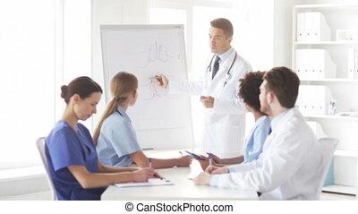 présentation, hôpital, groupe, médecins