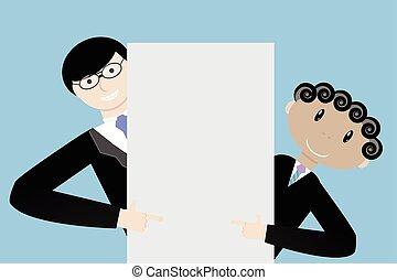 présentation, hommes affaires, équipe