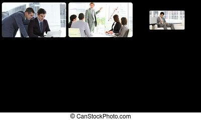 présentation, hommes affaires, montage