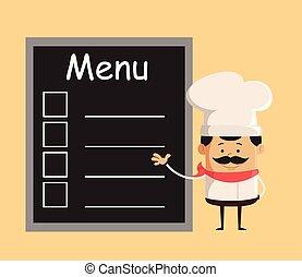 présentation, menu, chef cuistot, -, mignon, liste, professionnel