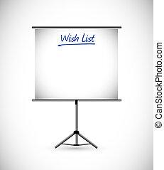présentation, souhait, concept, liste, signe