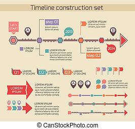 présentation, timeline, diagramme, éléments