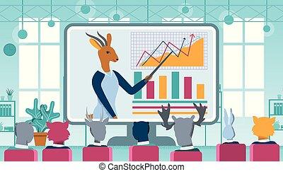 présentation, vidéo, ligne, caractère, gazelle