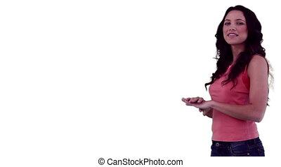 présentation, virtuel, utilisation, slideshow, brunette, femme, confection