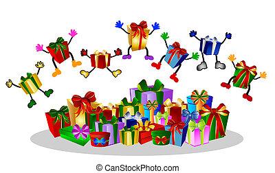 présente, boîtes, sauter, cadeau, coloré