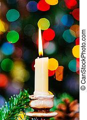 présente, bougies, bokeh., arbre, année, nouveau, décoré, noël