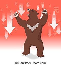 présente, concept, graphique, ours, tendance baisse, fond, marché, stockage
