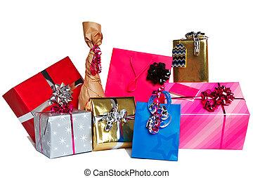 présente, coupure, groupe, cadeau, dehors