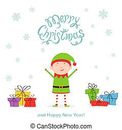 présente, elfe, noël, heureux