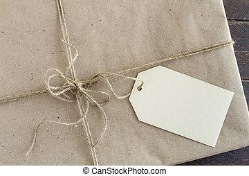 présente, emballé, étiquette, noël, vide