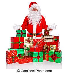 présente, emballé, claus, santa, cadeau