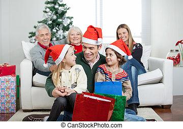 présente, multigeneration, noël, famille