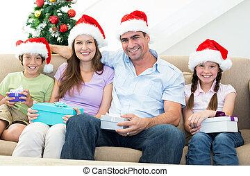 présente, noël, famille, heureux