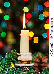 présente, profondeur, peu profond, nouveau, field., bougies, gifts., noël, fête, décoré, arbre, bokeh., année
