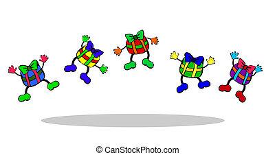 présente, sauter, illustration, coloré
