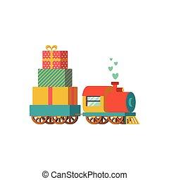 présente, train jouet, vecteur, illustration
