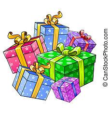 présente, vacances, isolé, cadeau
