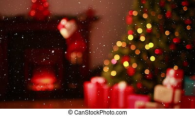 présente, vidéo, neige, flou, tomber, composition, lumières, noël, confortable, sur, arbre