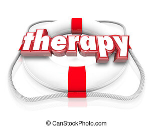 préservateur vie, mot, monde médical, rehab, thérapie, services médicaux