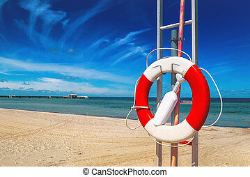 préservateur vie, plage, sablonneux, lifebuoy
