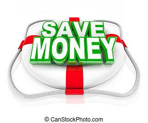 préservateur vie, secours, argent, vente, budget, sauver