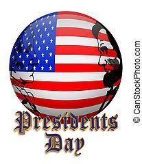 présidents, américain, orbe, drapeau, jour