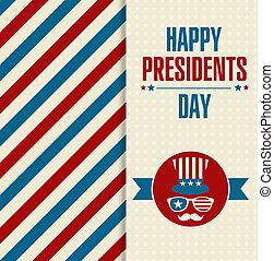 présidents, arrière-plan., américain, invitation, fête, jour