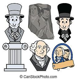 présidents, usa, dessin animé, clipart