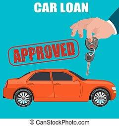 préstamo coche, plano, diseño, vector