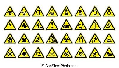 prévenant signes, grand, set., sécurité, dans, workplace., triangle jaune, à, noir, image., vecteur, illustration.