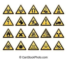 prévenant signes, set., sécurité, dans, workplace., triangle jaune, à, noir, image., vecteur, illustrations