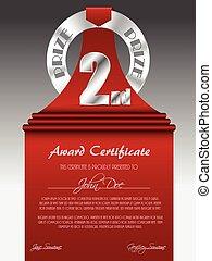 prêmio, certificado, distinção, segundo lugar, prata