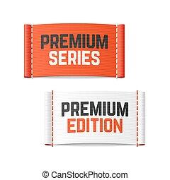 prêmio, etiquetas, edição, série