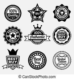 prêmio, etiquetas, jogo, qualidade