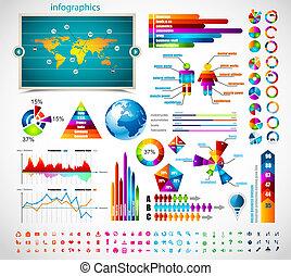 prêmio, infographics, mestre, collection: