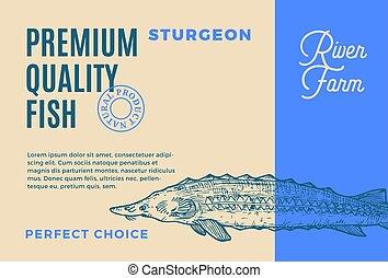 prêmio, label., peixe, qualidade, abstratos, modernos, ...