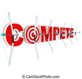 prêmio, muitos, setas, competidores, arcos, competir