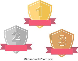 prêmio, ouro, distinção, copos, prata, bronze