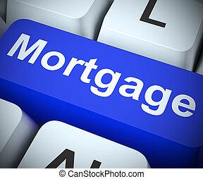 prêt, économie, icône, -, moyens, hypothèque, concept, obtenir, maison, 3d, illustration