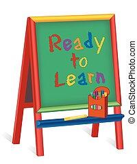 prêt, chevalet, apprendre, childrens