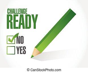 prêt, défi, marque contrôle