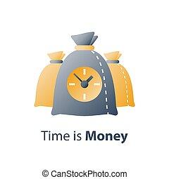 prêt, financier, horloge, période, compte, économies, crédit, jeûne, bénéfice, argent, temps, rapide, paiement, sac