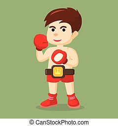 prêt, garçon, boxe