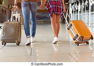 prêt, mignon, couple, voyage, aimer