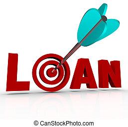 prêt, mot, flèche, dans, centre, cible, financement, hypothèque