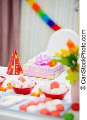 prêt, table, anniversaire, closeup, célébration