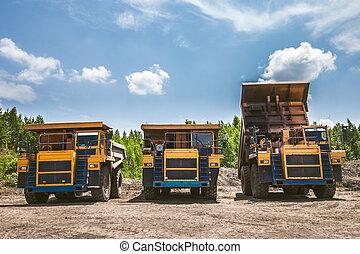 prêt, travail, camions décharge