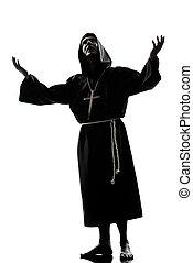 prêtre, prier, silhouette, moine, homme