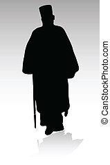 prêtre, silhouettes, vecteur