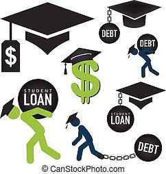 prêts, education, assistance financière, prêt, icônes, -, diplômé, étudiant, graphiques, aide, gouvernement, dette, ou